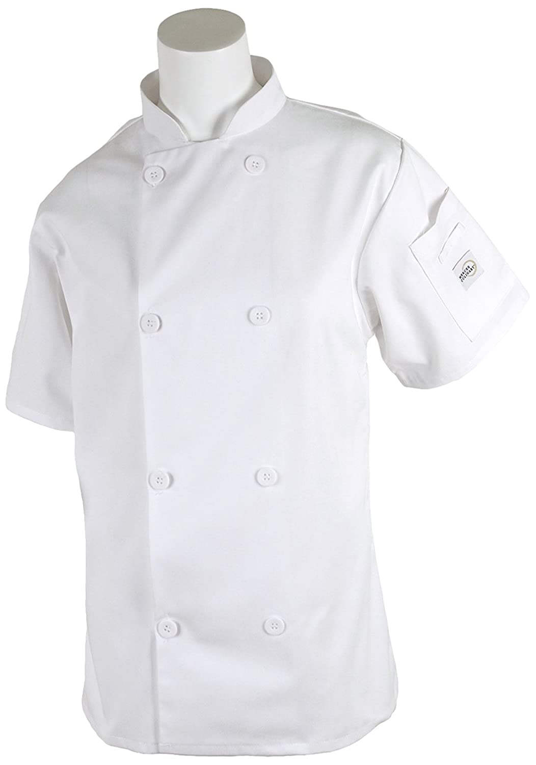 Mercer Culinary M60023WHXXS Millennia Women's Short Sleeve Cook Jacket with Traditional Buttons, XX-Small, White