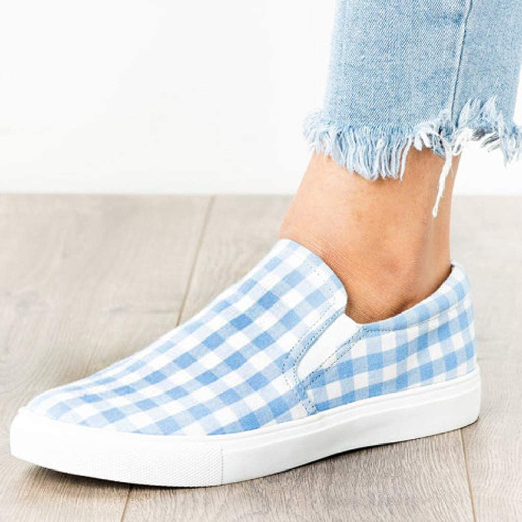Slip On Sneakers For Women Lightweight Black And White Checkered Canvas Running Shoes