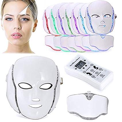 Biutee Mascara LED Facial de 7 Colores con Cinta Ajustable Tiene Microcorriente Galvánica con Intensidad Regulable