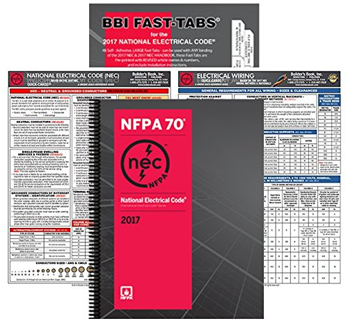 NFPA 70 2017: National Electrical Code, NEC, Spiralbound, NEC Fast Tabs, NEC Quick Card and Electrical Wiring Quick Card, 2017 Edition, Package by NFPA-BB