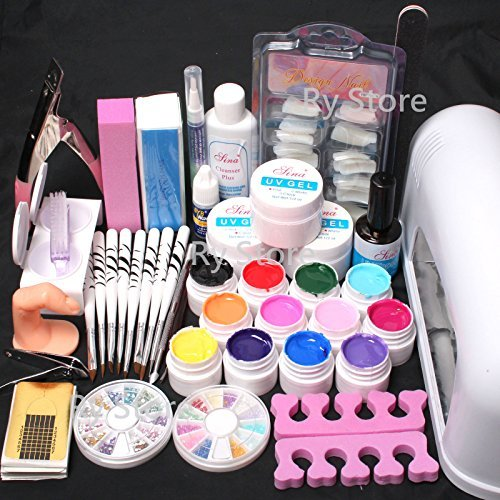 25 in 1 Combo Set Professional 9W Lamp Dryer Color UV Builder Gel DIY Nail Art Decorations Kit Brush Buffer Cuticle Revitalizer Oil Pen Tools Natural White Nail Tips Rhinestones Pearls Cutter Sanding Files Forms Glue UV Gel Set #35 by RY