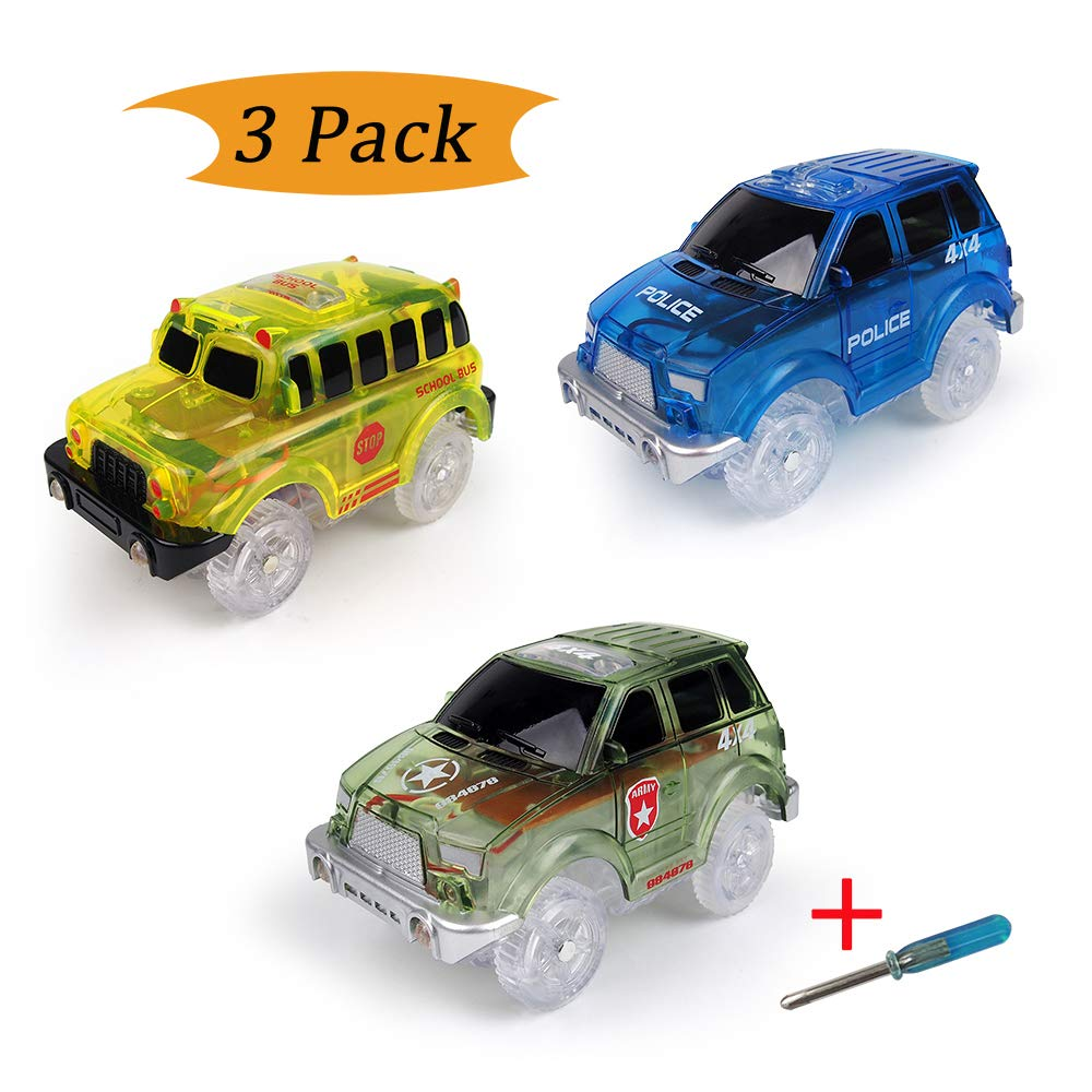 Electric Magic Tracks Cars(3-Pack) LED Flashing Toy Car Looping Race Run Set Flexible Glow in The Dark 5 LED Lights Magic Track Toy Boys Girls