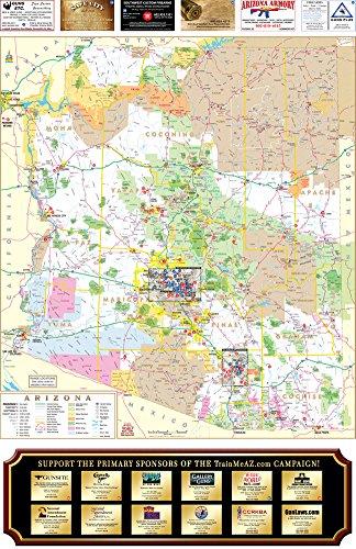 GUN MAP: Arizona Where-To-Shoot Guide Gloss (Arizona Wall Map)