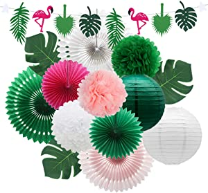 Meiduo Tropical Flamingo Palm Leaves Party Decorations with Paper Fans Paper Lanterns Pom Poms Flowers for Birthday Bridal & Baby Shower Bachelorette Hawaiian Beach Pool Summer (Green)