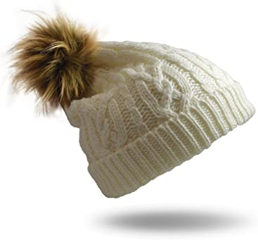 Pudus Cable Knit Adult one Size Cozy Winter hat Sherpa Lining 5c987f60fa5c