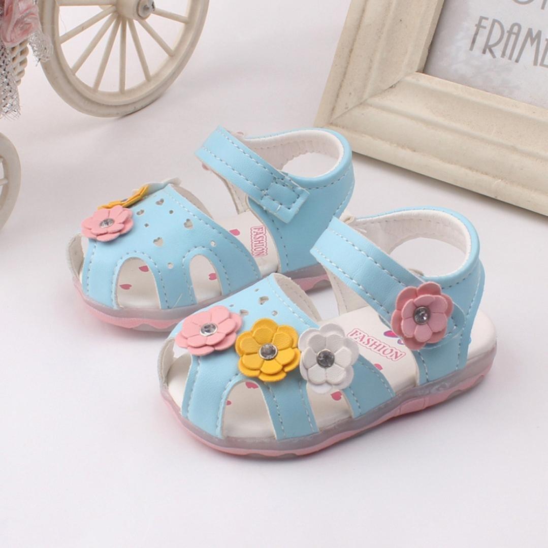 af6add0d62a Btruely Herren⚽ Sandalias para Niña 0-4 Años Niña Sandalias Huecos de Flores  de bebé Recién Nacido Zapatos con Suela Primeros Pasos Princesa de Deporte  ...