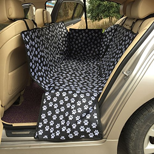(LULUME Pet Seat Cover - Car Seat Protector, Nonslip Waterproof Paw Printed Dog Seat Cover, Hammock with Side Zippers Flaps, Best for Cars Trucks Suvs)