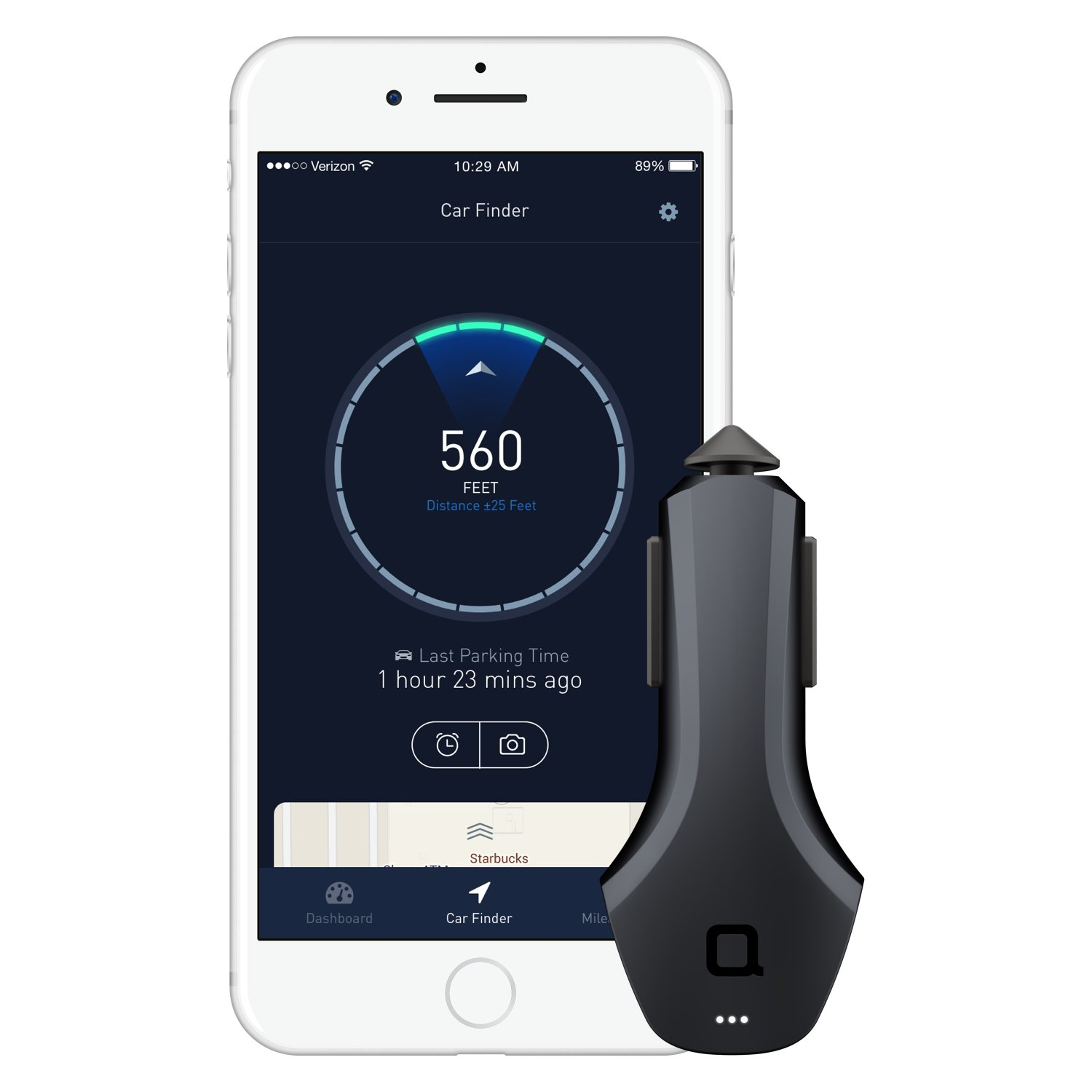 nonda ZUS Smart Car Charger & Connected Car App Suite, Save Parking Location, Monitor Car Battery Health, Mileage Log- No OBD Port Required, Best Companion for Navdy, Automatic, Vyncs, Linxup, Carlock by nonda