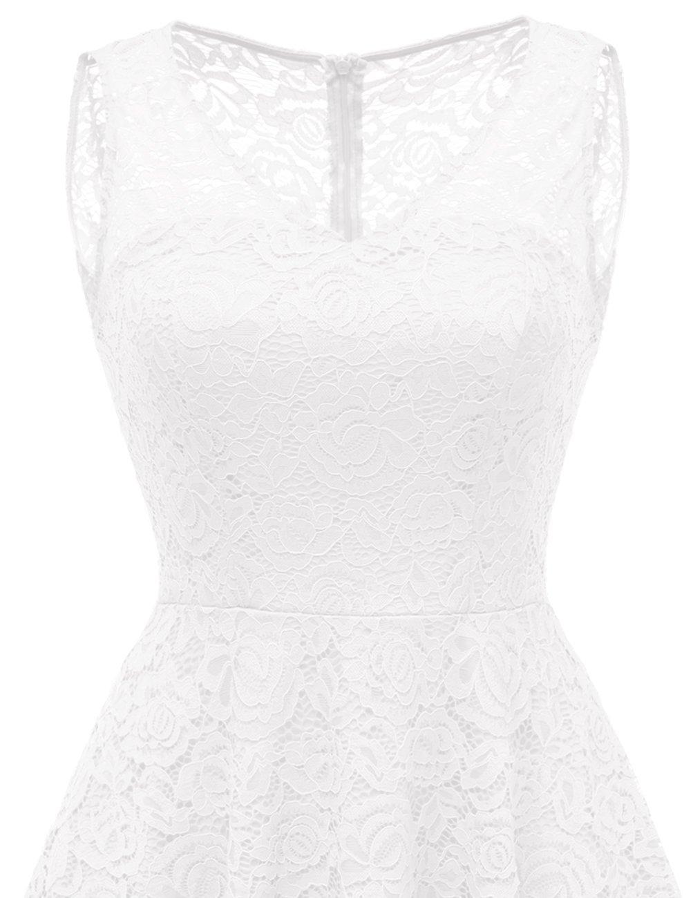 DRESSTELLS Women's Cocktail V-Neck Dress Floral Lace Hi-Lo Formal Swing Party Dress White XL by DRESSTELLS (Image #6)