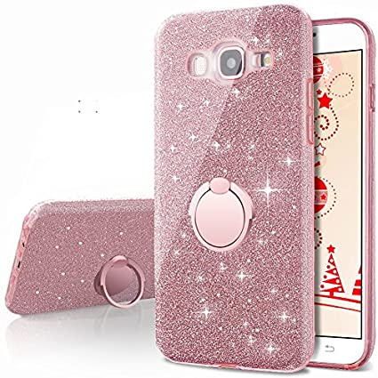new style 94eb3 77c0d Galaxy J5 2016 Case,(not fit J5 2015),Silverback Girls Bling Glitter Cute  Case with 360 Rotating Ring Stand, Soft TPU Outer Cover + Hard PC Inner ...