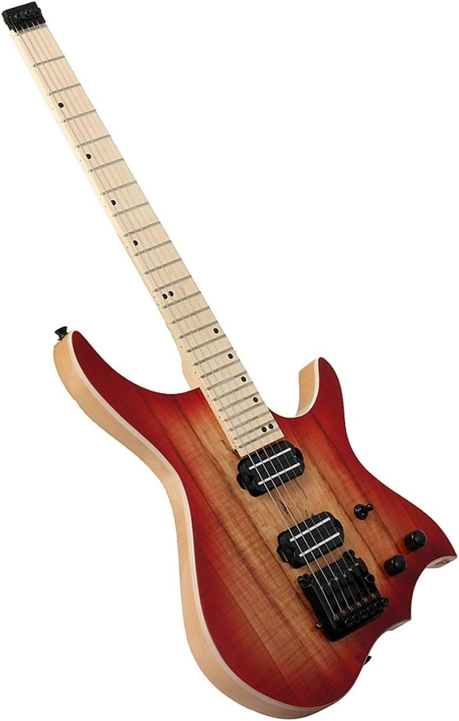 SUNXK Sin Cabeza Ash WoodBody Guitarra eléctrica Flame Maple Neck Red Spalted Top de Arce