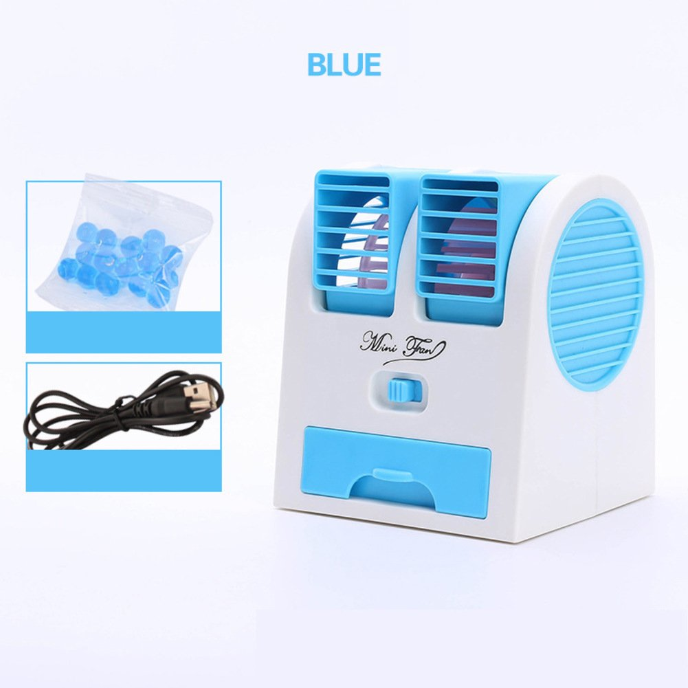 JiaQi Mini Air Conditioning,Portable Air Cooler,Cooling Small Fan Usb Office Humidifier Hostel-Blue 12x11x15cm(5x4x6inch)