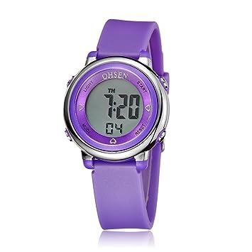 PIXNOR OHSEN - Niños y Niñas Mujer multifunción impermeable reloj deportivo de cuarzo pantalla con retroiluminación, morado: Amazon.es: Deportes y aire ...