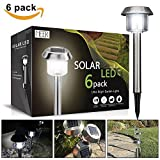 Solar Garden Lights, Meer Solar Energy Lights for Outside Outdoor Pathway Driveway Yard Patio Landscaping Lawn 15 lumens Bright White Stainless Steel Metal Water Proof Christmas Decoration 6 pack