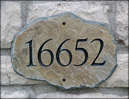 House Number Address Stone / (Carved Slate Marker) Mailbox Plaque ()