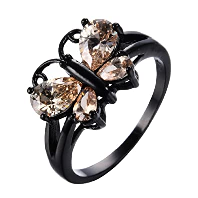 Amazon Com F T Jewel Cute Champagne Zircon Ring Black Gold Filled
