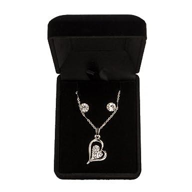 ee48885f3227 Parure de Bijoux avec Pendentif 2 Coeurs entrelacés et strass - couleur Or  et argent-