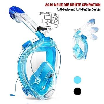 Karvipark Tauchmaske Neueste Innovative Vollmaske Faltbare Schnorchelausrüstung,Vollgesichtsmaske 180°Sichtfeld Anti-Fog Schn