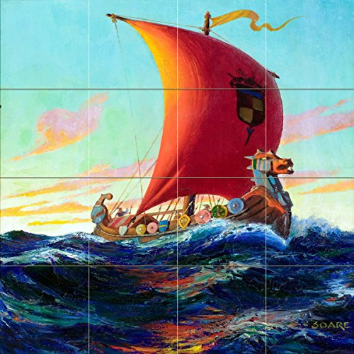 Seascape pirate ship captain's boat sea waves by William Fulton Soare Tile Mural Kitchen Bathroom Wall Backsplash Behind Stove Range Sink Splashback 4x4 6'' Rialto by FlekmanArt