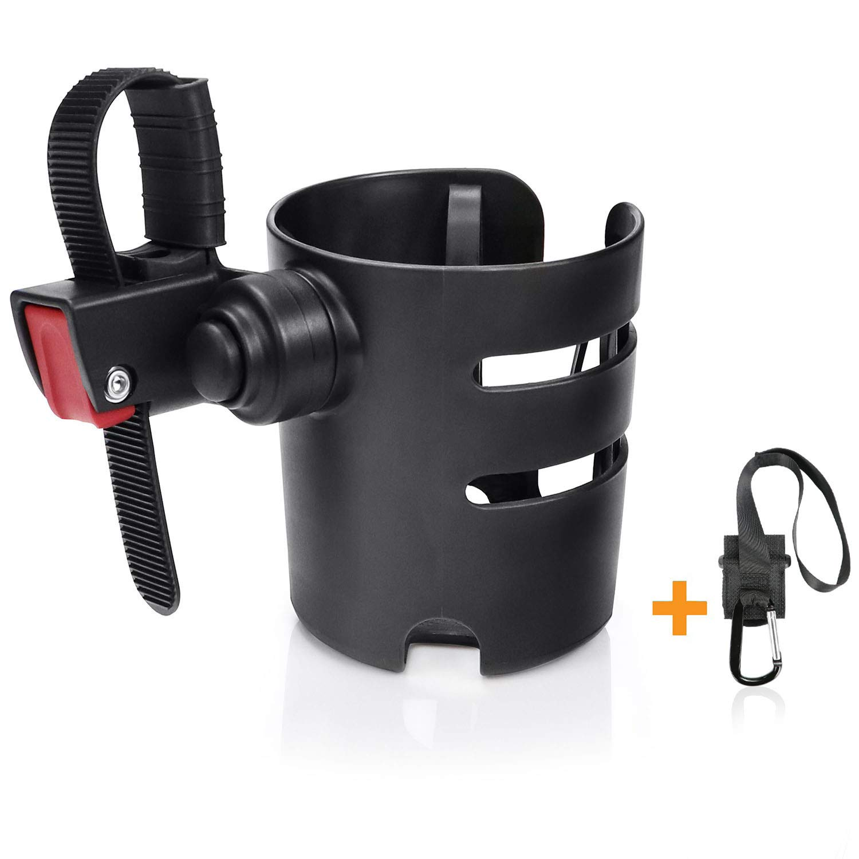 Universal Stroller Cup Holder, Pram Cup Holder, Baby Bottle Organizer for Stroller, Drink and Coffee Cup Holder with 1 Pram Hook