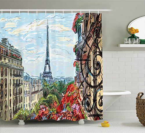 France Street Scene (Ambesonne Paris City Decor Collection, Street in Paris Town Traffic Trees Downtown Urban Life Exterior Monument Scene Print, Polyester Fabric Bathroom Shower Curtain, 75 Inches Long, Red Green Blue)