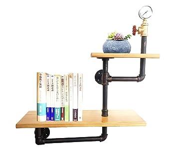 KALER Industrial Pipe Shelf Wall Mounted Brackets Shelves Hanging DIY Decor Bookshelf 2