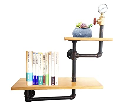 Excellent Kaler Industrial Pipe Shelf Wall Mounted Brackets Shelves Hanging Wall Diy Decor Pipe Bookshelf 2 Tier Home Interior And Landscaping Elinuenasavecom