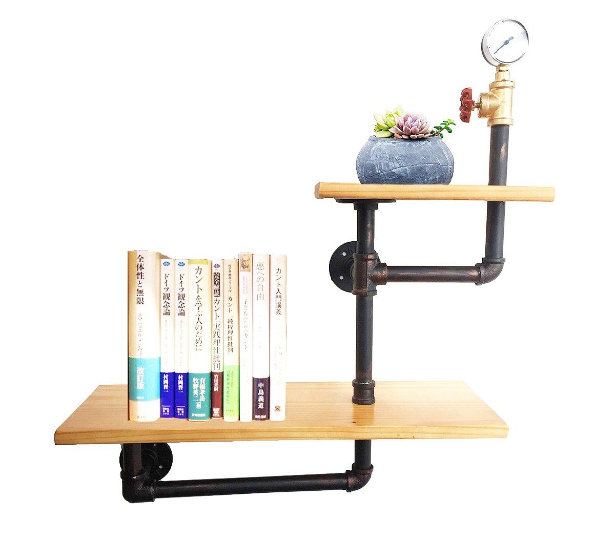 KALER Industrial Pipe Shelf wall mounted brackets shelves Hanging Wall Diy Decor Pipe Bookshelf-2 Tier