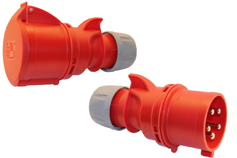SET CEE Kupplung und Stecker mit Phasenwender 16A; 5-polig 6h 400 V Starkstrom Kupplung Industriequalittät PCE