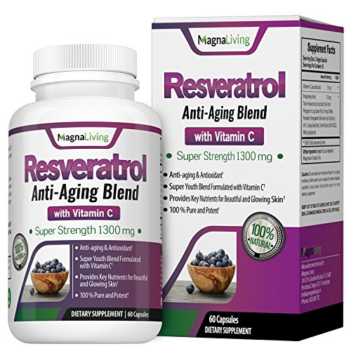 Resveratrol Anti Aging (Resveratrol 1300 Mg Veggie Capsules - Maximum Strength Anti Oxidant & Natural Anti Aging Supplement with Vitamin C - Boosts Immune & Cardiovascular System So You Look and Feel Great)