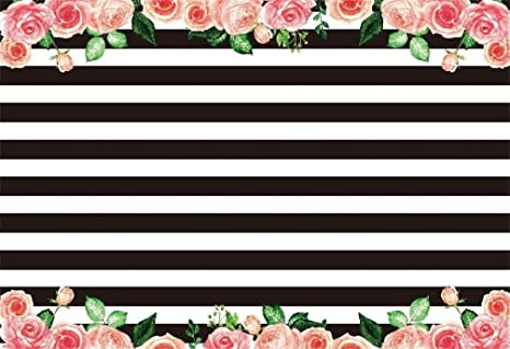 Amazoncom Aofoto 8x6ft Black And White Stripes With Pink Rose