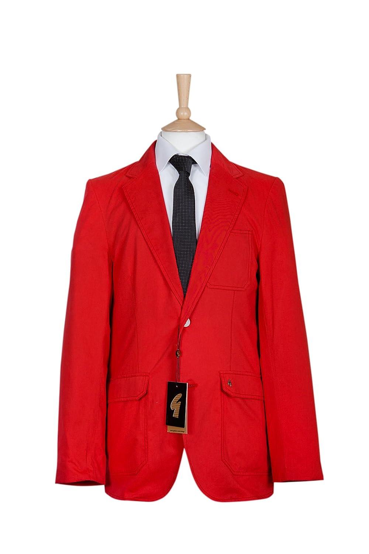 Mens Red Cotton Lightweight Blazer Jacket