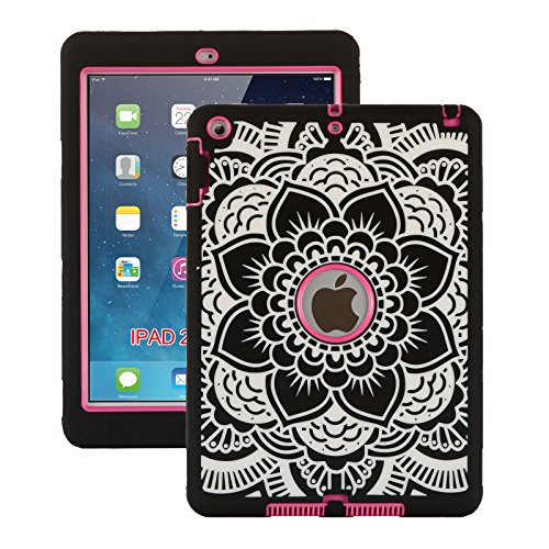 iPad Air Case,iPad 5 Case, ZERMU Black Flower Design Shock-Absorption Silicone High Impact Resistant Hybrid Three Layer Hard Plastic+Silicone Armor Defender Protective Cover for iPad Air/iPad 5