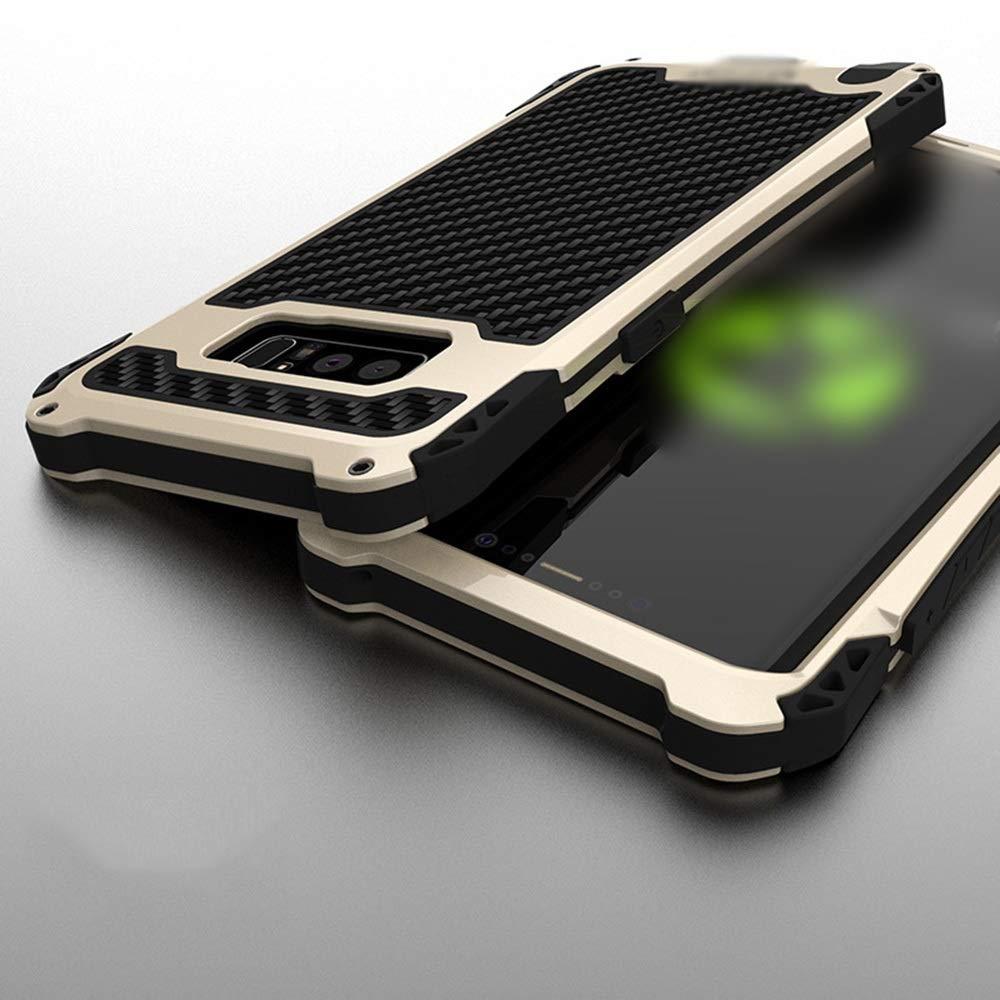 ACHAOHUIXI 品質シリコン素材アンチドロップカーボンファイバーシェルメタル保護カバーカムフラージュサムスン注8、注FE用の3つの防水滴電話ケース (Color : ゴールド+黒, Edition : Note8)