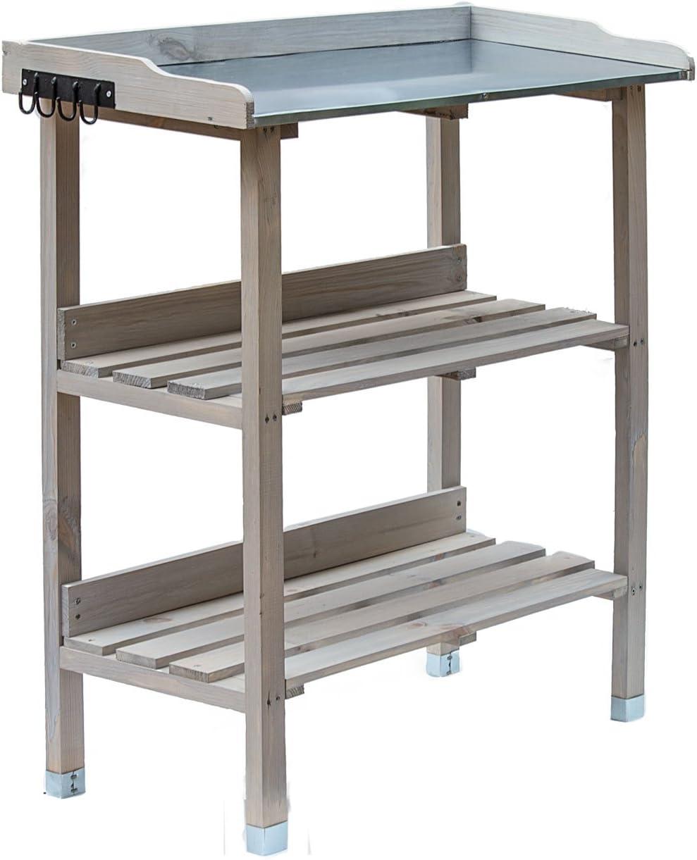 weatherproof patio balcony 2 shelves garden table with zinc plate RM design plant rack. wooden planting table 76 x 38 x 91 cm for garden
