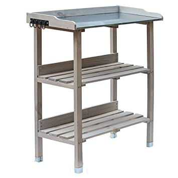 RM Design Table de plantation en bois avec plateau en métal et 2 étagères,  résistante, pour jardin, balcon, terrasse, 76 x 38 x 91 cm 76 x 38 x 91 ...