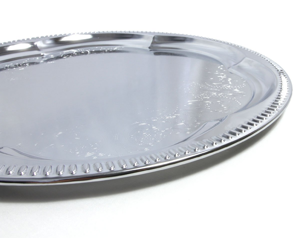 13.8 Elegant Round Floral Pattern Engraved Catering Chrome Plated Serving Plate Mirror Tray Platter Tableware Holiday Wedding Birthday Party Deco Art Pack of 4 Medium Maro Megastore T226-4PK