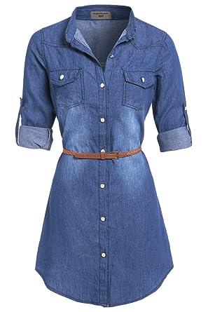 281ce479c55 SS7 Womens Plus Size 16-24 Longline Denim Shirt Dress  Amazon.co.uk   Clothing