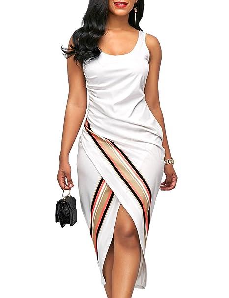 4d16ed1284ac Lamilus Women's Dresses,Summer Sleeveless Scoop Neck Print Bodycon Sheath  Dress,X-Small