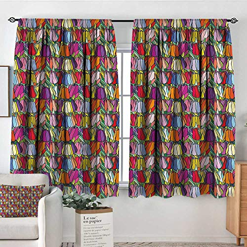 - familytaste Tulip,Customized Chid Curtains Colorful Petals Cartoon Style 52