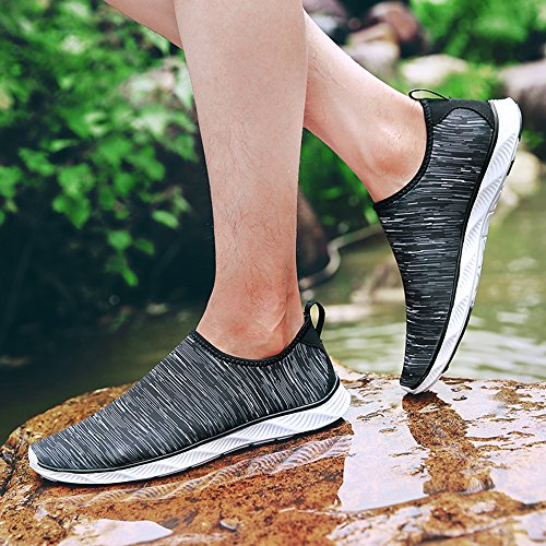 Earsoon Summer Water Shoes for Men JYD17067 Beach Swim Shoes Skin Socks for Men Women Mesh Outdoor Sports Slip On Shoes Stripe uaCogJm