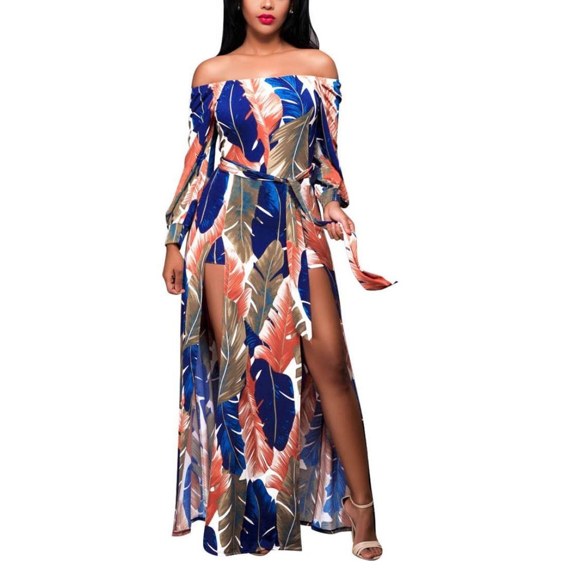 2018 Hot,TIFENNY Women's Summer Boho Long Maxi Dress Evening Party Beach Fashion Dress Elegant Sundress (S, Multicolor)