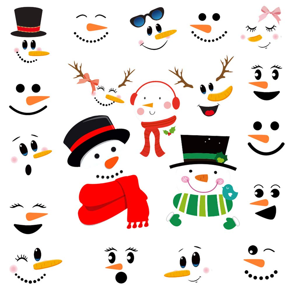 Kiddale Snowman Face Stickers Christmas Refrigerator Stickers,Removable Window Glass Decals Lovely Snowman Face Art Wall Decor Christmas Decorations