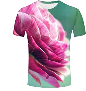 qianyishop para Hombre 3D Print Asian Buttercup Flower Graphic T Shirts Couple Tees