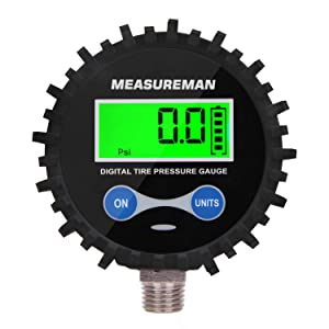 """MEASUREMAN 2-1/2"""" Dial Size Digital Air Pressure Gauge with 1/4'' NPT Bottom Connector and Protective Boot, 0-200psi, Accuracy 1%, Battery Powered with LED Light"""