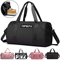 TOPSEFU Dry Wet Separated Sports Gym Bag with Shoes Compartment, Large Gym Duffle Holdall Bag Training Handbag Yoga Bag for Men and Women