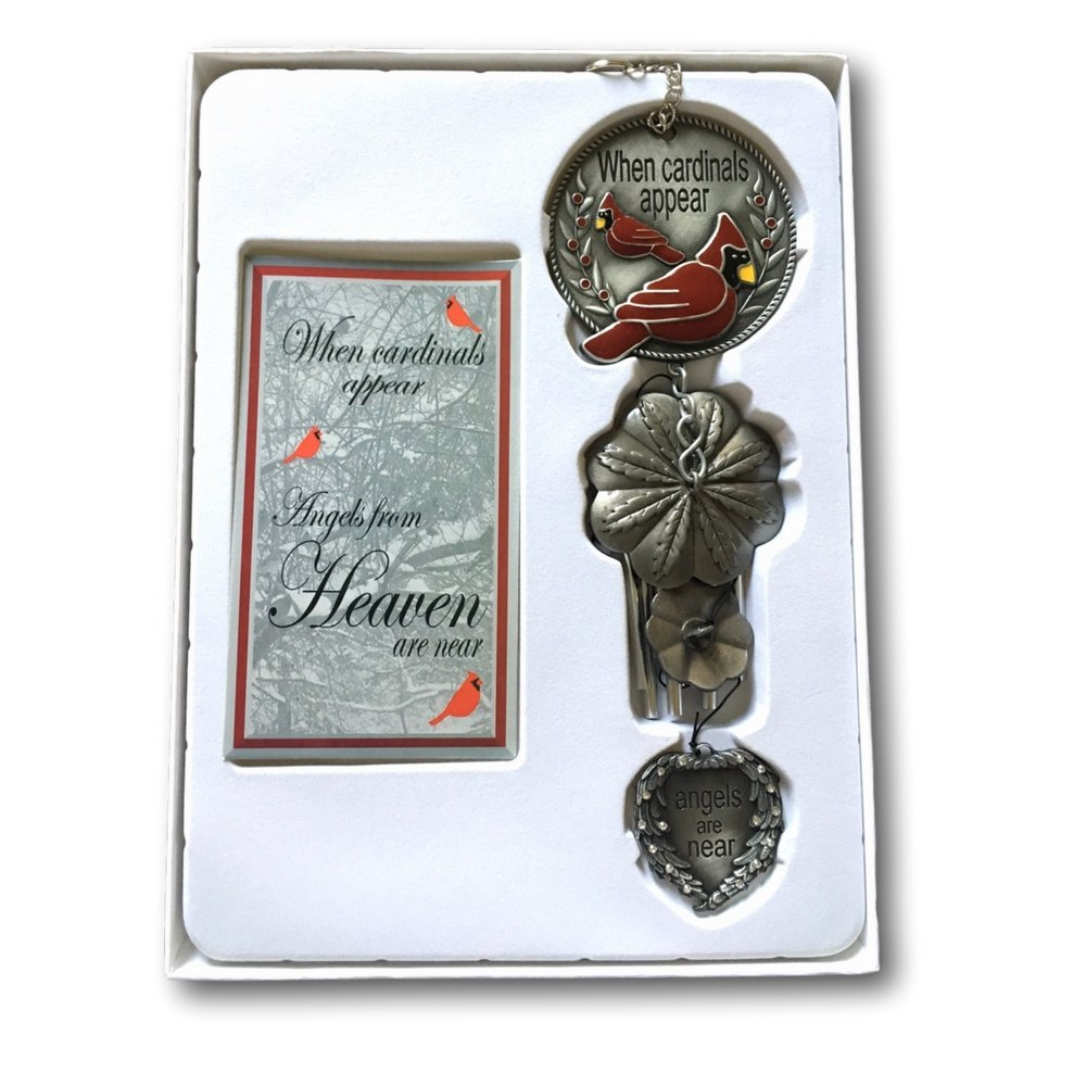 Banberry Designs Memorial WindChimes - When Cardinals Appear Angels are Near - Red Cardinal Wind Chime with a Remembrance Saying by Banberry Designs (Image #3)