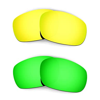 a6ad2b5efb Hkuco Mens Replacement Lenses For Oakley Jawbone (Asian Fit) 24K Gold Emerald  Green