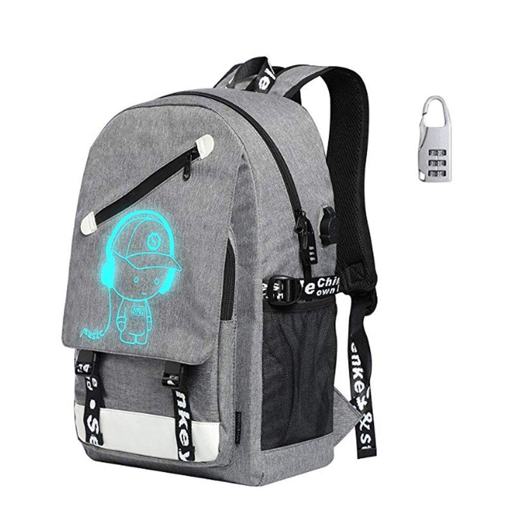 Boys Girls Laptop Bag,光バックパックwith USB充電ポートとロック、ファッショングローin theダークバックパック肩Day Pack B07F2V6FC4 グレー