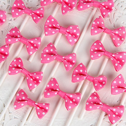 INNORU [Pack of 18 Children's Birthday Baby Shower Party Bow Dots Cupcake Toppers Cake Decoration Supplies ()